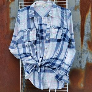 MAURICES Plaid Long Sleeve Shirt Blue Pink Large